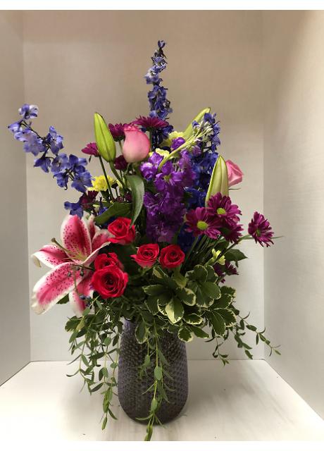 Deep Blue Delphinium, Hot Pink Spray Roses, Stargazer Lily, Pink Roses, Eucalyptus