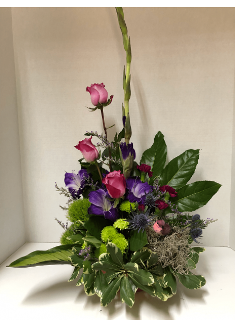 Tropical Foliage, Roses, Gladiolus, Button Mums