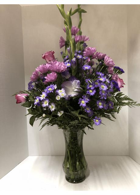 Purple Pleasure of Asters, Gladiolus, Chrysanthemums and Roses