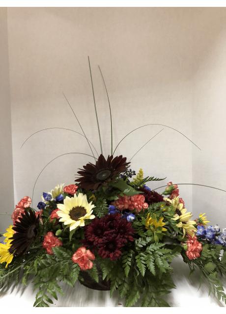 Centerpiece of Chrysanthemums Bear Grass and Dianthus