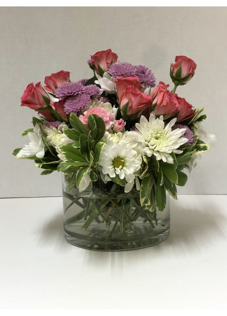 Cylinder Vase of Spray Roses and Chrysanthemums