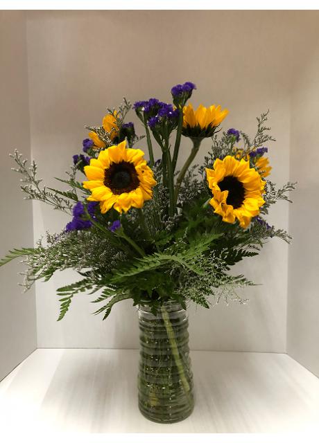 Sunny Sunflowers With Purple Statice