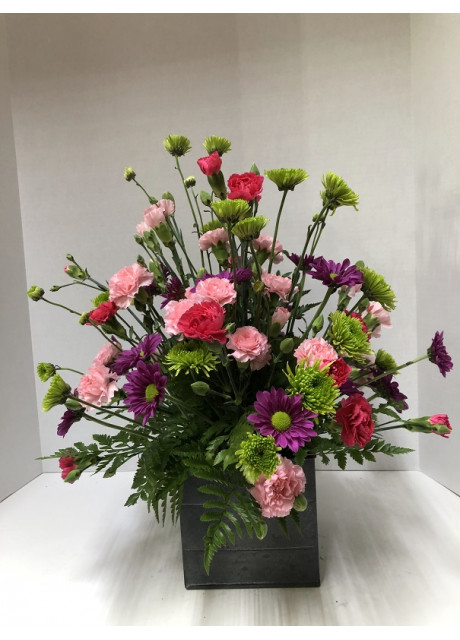 Burst of Mixed Mums, and Miniature Carnations